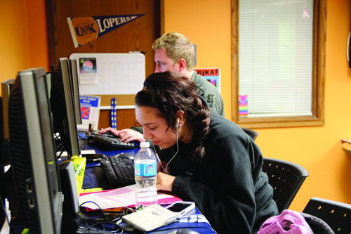 Claudia Becerra of Omaha and Tyson Radcliffe of Kearney study in the Office of Multicultural Affairs on March 6 as a part of L8 Niterz. OMA has recently started providing free printing to those who come to L8 Niterz. Photo by Adrianna Tarin