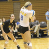 Photo by Jennessa Conlan Libero for the UNK Lopers, a senior from Grand Island, Neb., Liz McGowan, picked up a incoming serve from the Gorillas. McGowan picked up 16 digs during the Friday night victory.
