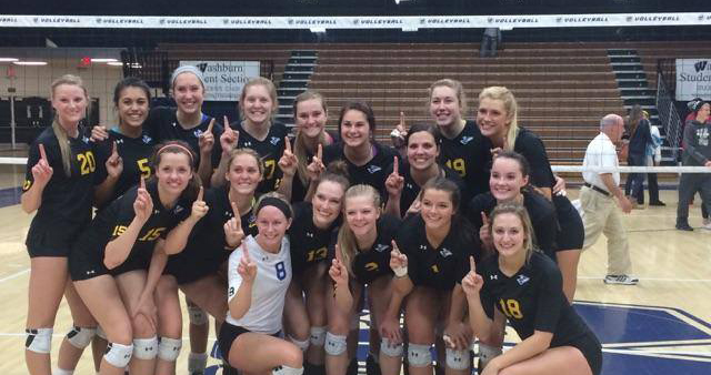 The 6th-ranked Nebraska Kearney volleyball team earned a share of the 2014 MIAA title by beating 13th-ranked Washburn in four sets Saturday night in Topeka, Kan.