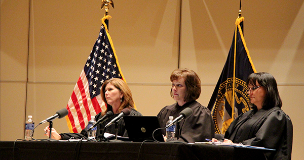 Photo by Austin Koeller From left, Court of Appeals Judges Francie Riedmann, Frankie Moore and Riko Bishop listen carefully as lawyers present their appeals cases last Wednesday. The judges were at UNK to hear oral arguments as part of the College Campus Initiative.