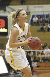 Looking to take a shot for the Lopers is freshman guard Taylor Neilson. This is Neilson's first year on the Lady Loper's basketball team.