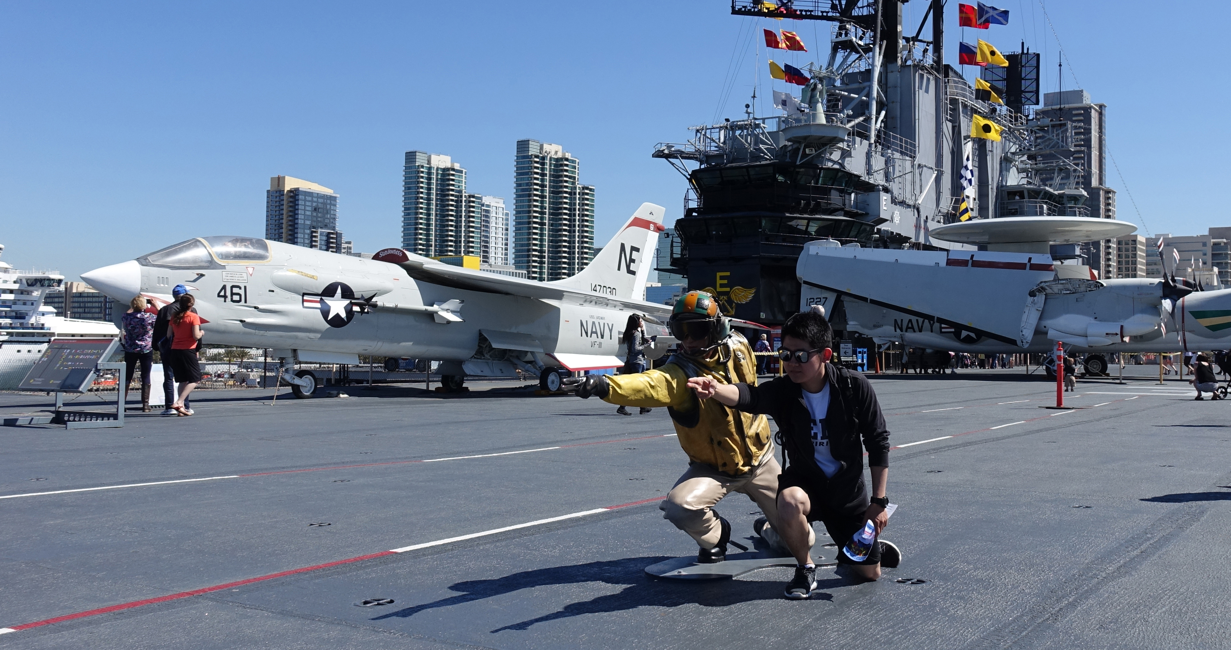 Dongwhan Noh, international student from Seoul, South Korea, travel San Diego USS Midway Museum during spring break.