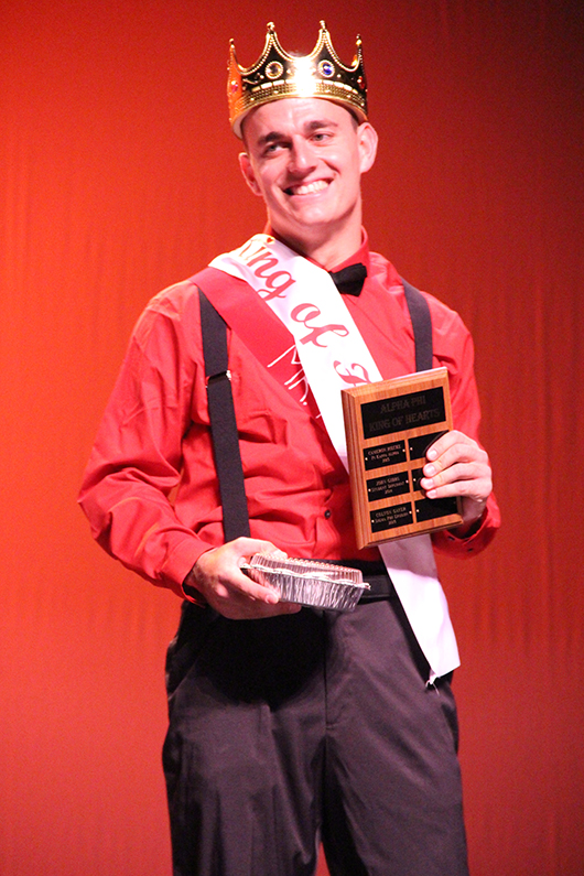 Ryan McFarlin, representing UNK Football, crowned on Thursday evening as Alpha Phi King of Hearts