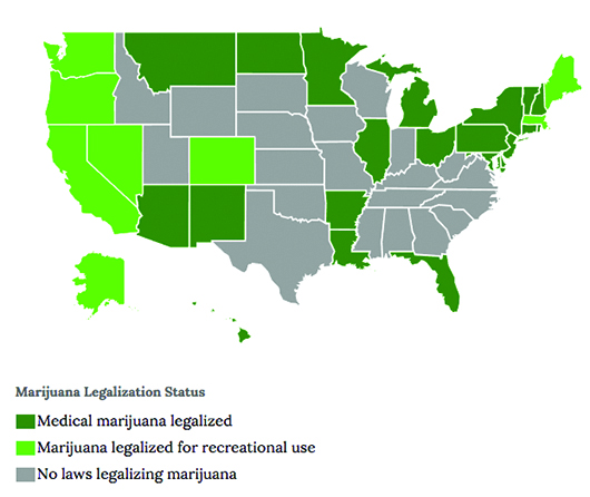 Www Governing Com The Map Outlines States In Which Recreation Marijuana And Medical Marijuana