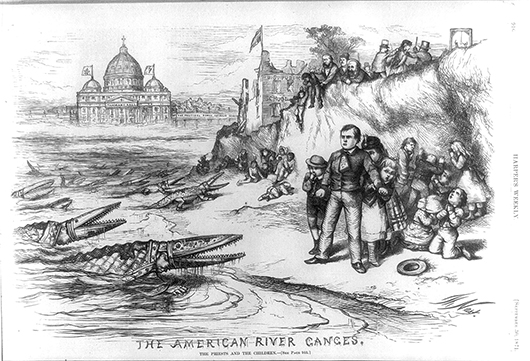 Library of Congress The American River Ganges cartoon by Thomas Nast was first published by Harper's Weekly, September, 1871. Four years later, the original image of Nast's most famous anti-Catholic image was updated. Tweed was safely out of the picture, literally and figuratively when the image was republished on 8 May, 1875 along with other minor modifications. The image is a tour de force of imagination and caricature technique. Nast dehumanized the Catholic bishops by turning them into reptiles. They emerge from the water toward the New York shoreline. Two clergy in the foreground had stereotypic Irish faces.