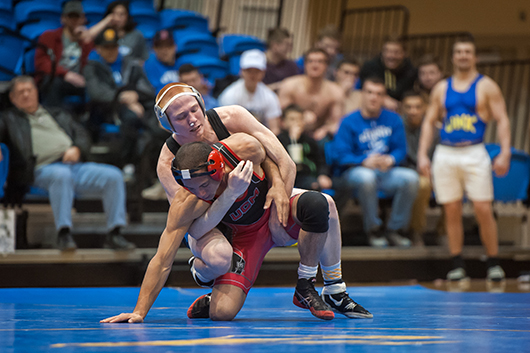 Photos by Todd Rundstrom Freshman Jacob Wasser had three takedowns and eight near fall points to record a second period tech fall, 15-0, in the 141 pound weight class.