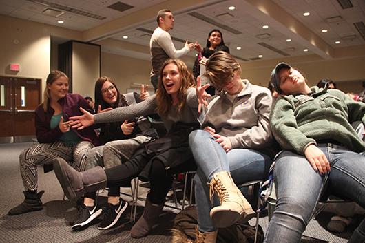 Photo by Jessica Turek 5. Students choose creative poses during Jim Wand's Facebook Live mannequin challenge. Soon after, Wand chose around 20 volunteer subjects to place under a hypnotic state. Wand started shows in Kearney before he became a full-time stage hypnotist, making UNK one of his longest-running venues.