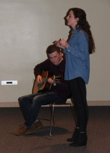 Photos by Meghan Weideburg Luke Grossnicklaus and Elenna Lininger practice their duet before performing.