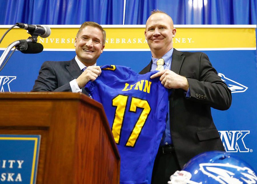 Courtesy UNK athletic director, Paul Plinske, welcomes Josh Lynn to the football program back in January. Lynn's past experience in regenerating struggling teams highlights his resume. Eastern New Mexico University appeared in two bowl games under his leadership.