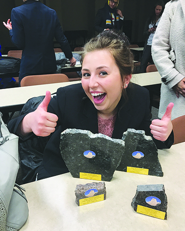 Courtesy Hanzlik receives first place in both prose and informative speaking as top novice in both at The Mountain Swing tournament at Western Nebraska Community College in Scottsbluff. She says she values forensics skills.
