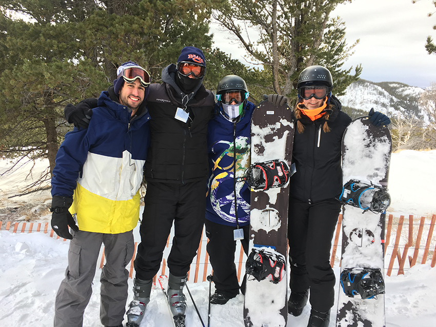 Photo by Michael Buck Students listed from left to right: Jake Barrett, Michael Buck, Jacob McCann and Jaime McCann. The Outdoor Adventures crew takes quick shot on the second day while skiing/boarding Snowy Range in Wyoming.