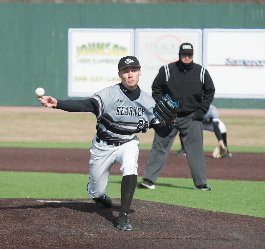 Photo by Todd Rundstrom Sean Laughlin, a senior journalism major from Overland Park, Kansas, pitches the ball in the Loper's home opener on March 13 against Sioux Falls. Laughlin pitched 1 and 2/3 innings and recorded three strikeouts; however, it was not enough to stop the Cougars, who won 11-7.