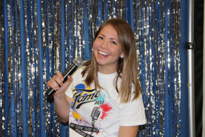 McKenzie Cuba, LPAC member, acted as MC for the fun evening in the Ponderosa Room