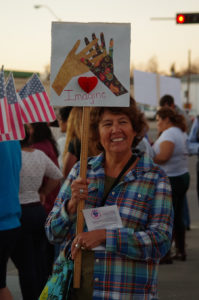 Patty Egbert graduated from UNK and was a teacher in Kearney for 42 years. She protested immigration reform at a recent Light the Way march, held at MONA on February 20.